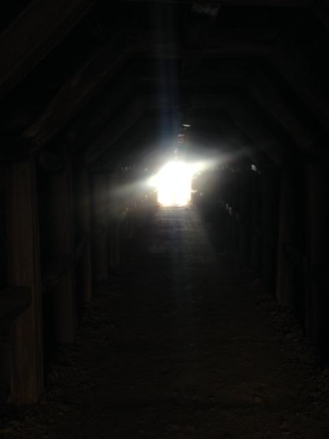 White light of tunnel